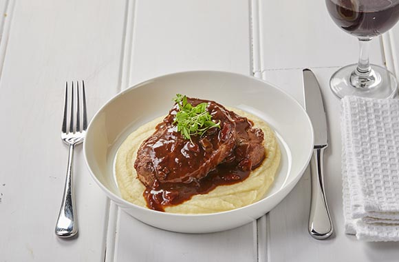Oyster blade steak with chili bbq sauce